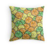 Lemon, lime and orange pattern Throw Pillow