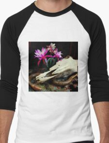 Western Union - Cactus With Orchids Men's Baseball ¾ T-Shirt