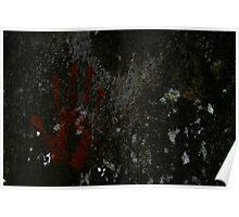 Ochre handprint Poster