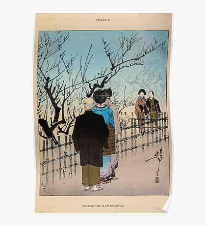 The flowers of Japan and the art of floral arrangement Josiah Conder 1892 0029 Viewing the Plum Blossoms Poster