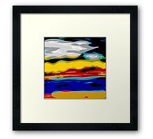 Bold colored, landscape modern, freeform digital art Framed Print
