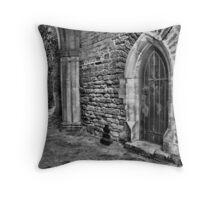 Door and Arch B&W Throw Pillow