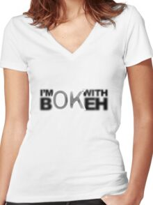 I'm ok with Bokeh! Women's Fitted V-Neck T-Shirt