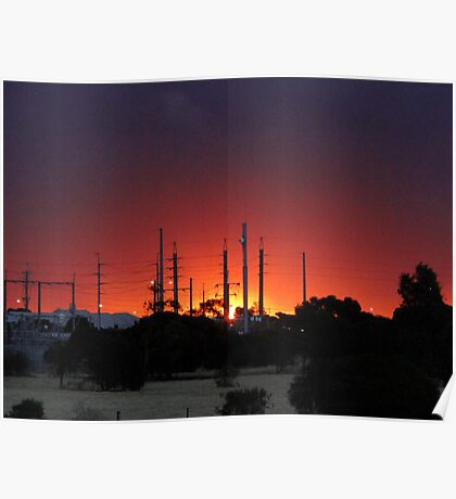 Sunset in the suburb Poster