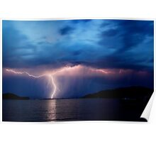Storm Over Lake Poster