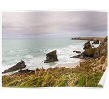 Bedruthan Steps  in Cornwall Poster