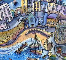 Moonlight harbour, tenby II by Dorian Davies