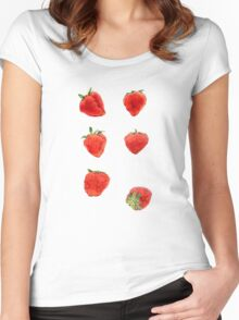 Strawberries Falling Women's Fitted Scoop T-Shirt