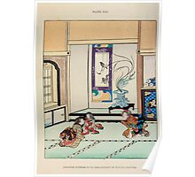 The flowers of Japan and the art of floral arrangement Josiah Conder 1892 0209 Japanese Interior wiht Arranagement of Winter Flowers Poster