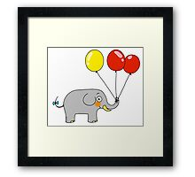 Baby elephant with 3 party balloons Framed Print