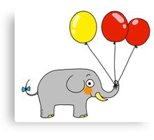 Baby elephant with 3 party balloons Canvas Print