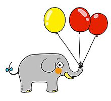 Baby elephant with 3 party balloons Photographic Print