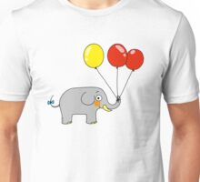 Baby elephant with 3 party balloons Unisex T-Shirt