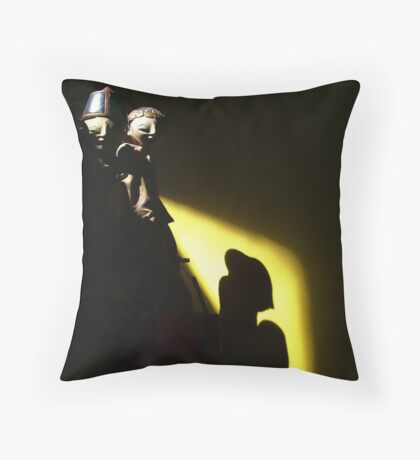 the puppets in my longe room Throw Pillow