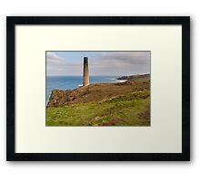 Historical coastline of cornwall Levant Mine Framed Print