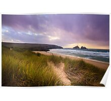 Holywell bay spectacular sunset Poster