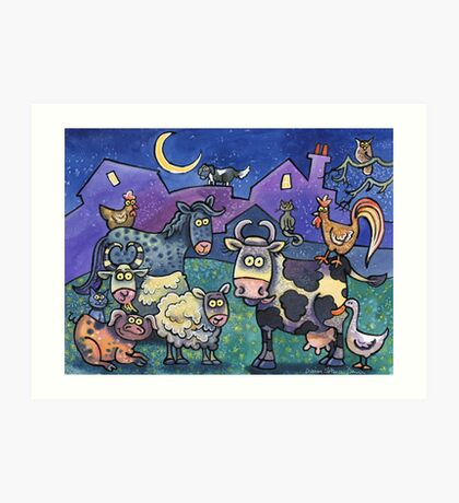 Farmyard family Art Print