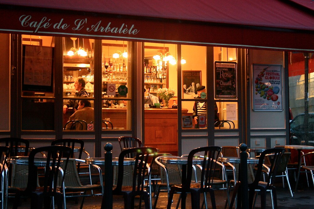 Nighttime at the Café de Arbalète by Virginia Kelser Jones