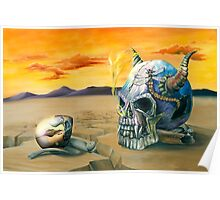 Egg and Skull Painting Poster