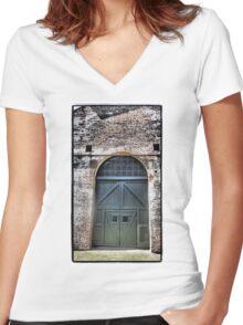 Railway Door II Women's Fitted V-Neck T-Shirt