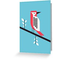 Woodpecker in blue Greeting Card