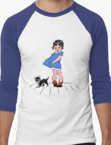 Girl with kitten Men's Baseball ¾ T-Shirt