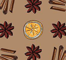 Pattern of star anise, cinnamon and orange circles by miroshina