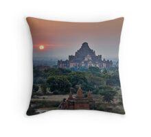 sunrise over Bagan Throw Pillow
