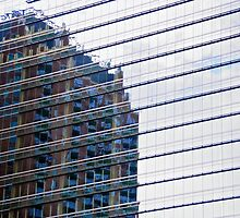 Evening building reflections in Houston, TX by Ann Reece