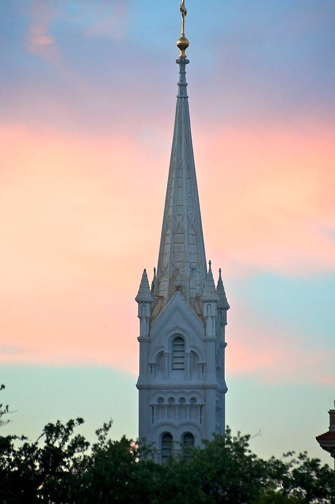 Evening glow on a cathedral - Houston, TX by Ann Reece
