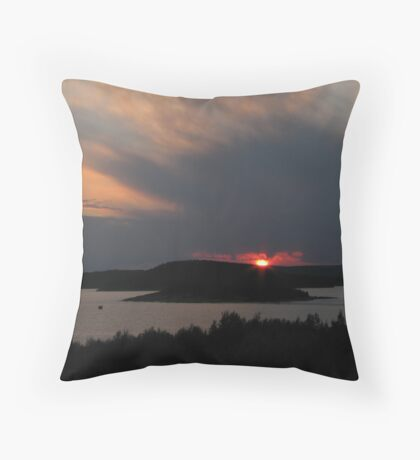 July sunset in Marathon Ontario Harbor Throw Pillow