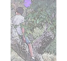 Boy With Balloon in Tree II Photographic Print