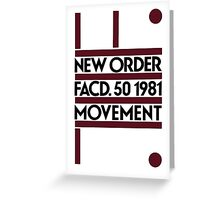 New Order - Movement. Factory 1981 Greeting Card