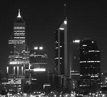 Perth by Night - Black & White by Stephen Horton