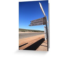 Useless Loop sign, Denham, Western Australia Greeting Card