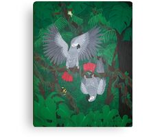Playful Greys - African Grey Parrots Canvas Print