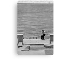 Enamoured Couple on Quay Canvas Print