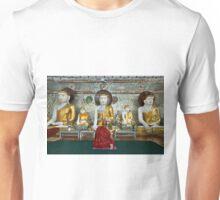 faithful Buddhist monk praying at Buddha Statues in SHWEDAGON PAGODA Unisex T-Shirt