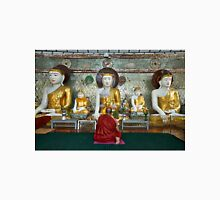 faithful Buddhist monk praying at Buddha Statues in SHWEDAGON PAGODA Unisex T-Shirt
