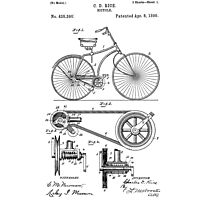 Bicycle patent from 1890 Photographic Print