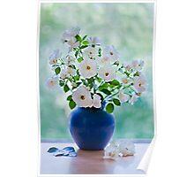 Vase of white roses Poster