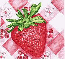 Berry Sweet Strawberry Colored Pencil Art by Michelle Bowden