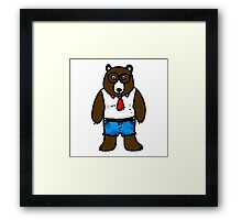 Hipster brown wild bear Framed Print