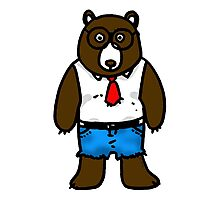 Hipster brown wild bear Photographic Print