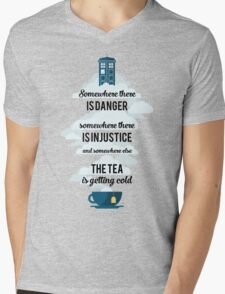 Doctor Who Somewhere tea is getting cold Mens V-Neck T-Shirt