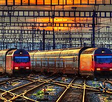 Sunset at Zurich Main Station III by Ted Lansing