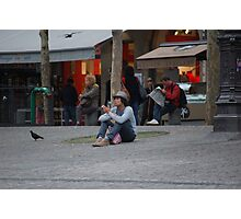 Of pigeons, puffs and gelati : waiting 11 am. Photographic Print