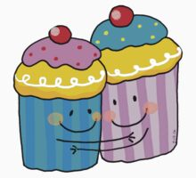 Blue and pink cupcake besties One Piece - Short Sleeve