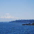 Mt Rainier rising out of Puget Sound by Marjorie Wallace