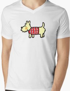 Cute puppy dog in red woolly jumper Mens V-Neck T-Shirt